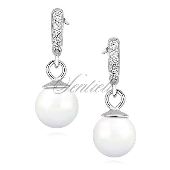Silver 925 Pearl Earrings With Zirconia
