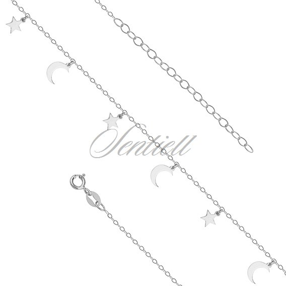 Silver 925 anklet adjustable size with star and moon pendants mozeypictures Choice Image