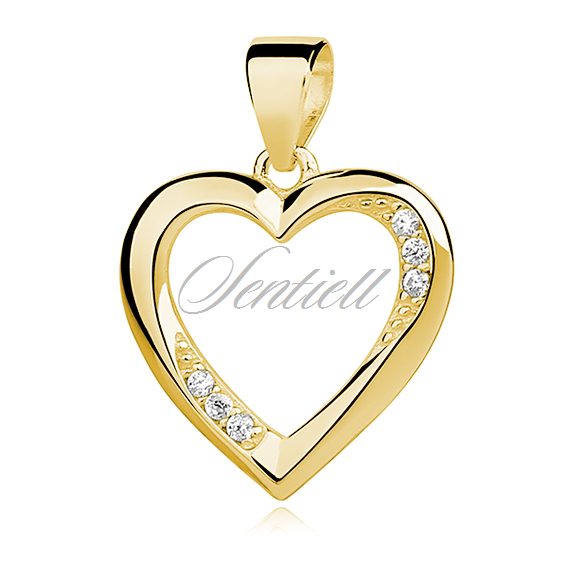 Silver Yellow Plated Heart Charm 22mm