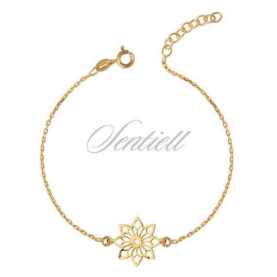 9dc5891fce Silver (925) bracelet with open-work flower pendant - gold-plated
