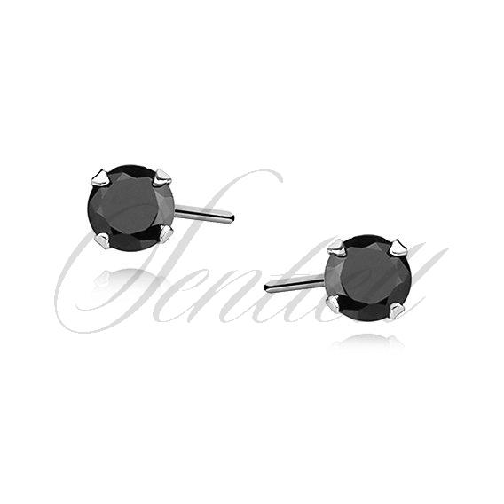614b89ec9bd3a2 Srebrne kolczyki pr.925 Czarna cyrkonia okrągła średnica 3mm ...