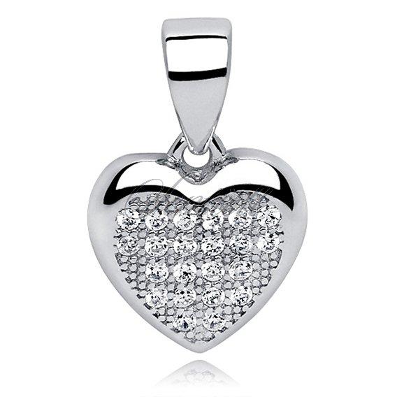 Silver 925 Pendant White Zirconia Heart Small Silver