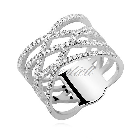 Crossed Wedding Bands.Silver 925 Crossed Ring With White Zirconia