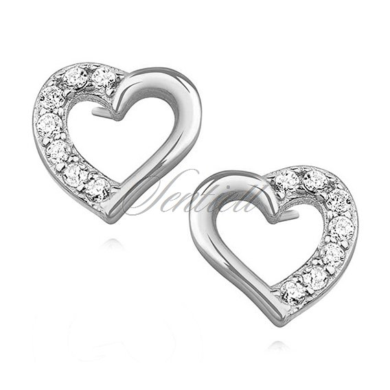 Silver 925 Heart Earrings With Zirconia Rhodium Plated Silver