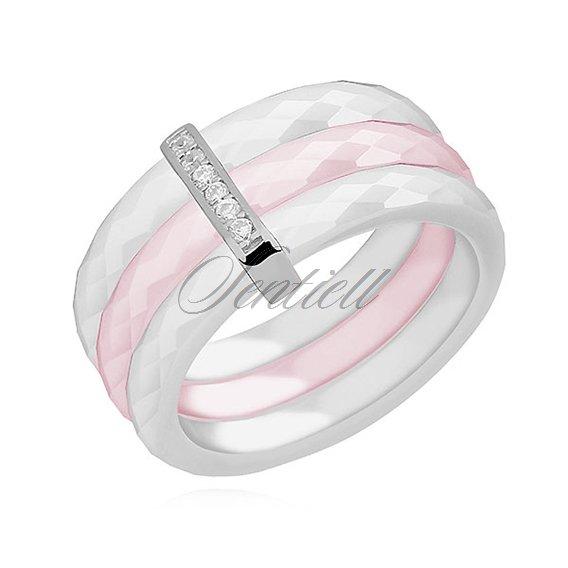 411c392492bb Potrójny pierścionek ceramiczny biały i różowy ze srebrnym (pr. 925 ...