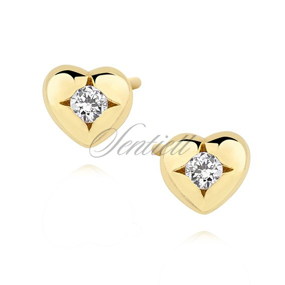 Silver 925 Gold Plated Heart Shape Earrings With Zirconia