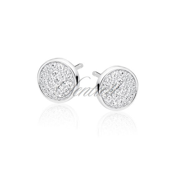 791004c21 Silver (925) elegant round earrings with zirconia Rhodium-plated ...