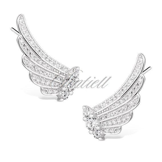 59711b87e56180 925 nausznice - skrzydła z cyrkoniami; Srebrne kolczyki pr. 925 nausznice -  skrzydła z cyrkoniami ...