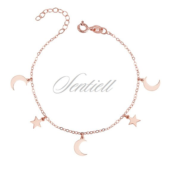 14K Rose Gold-plated 925 Silver Moon Heart Pendant with 18 Necklace Jewels Obsession Moon Heart Necklace