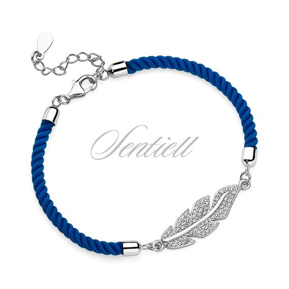 fcc34e6acad976 Srebrna pr.925 bransoletka z niebieskim sznurkiem - pióro z cyrkoniami ...