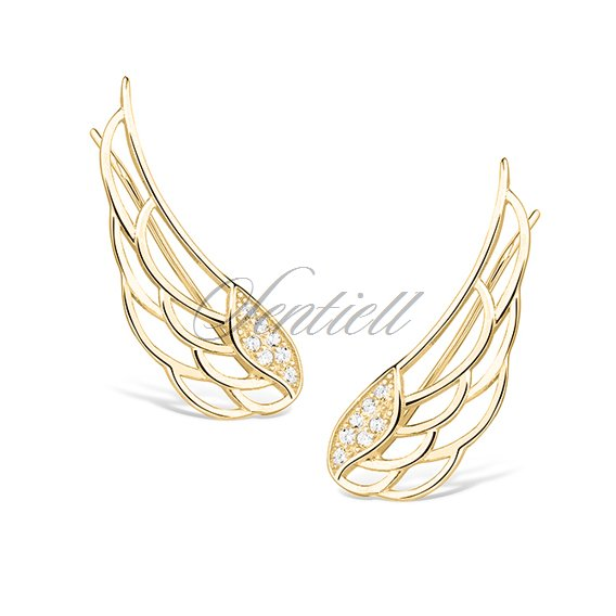Silver 925 Cuff Earrings Wings With Zirconia Gold Plated