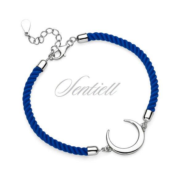 71e873bfacafa8 Srebrna pr.925 bransoletka z niebieskim sznurkiem - półksięzyc ...