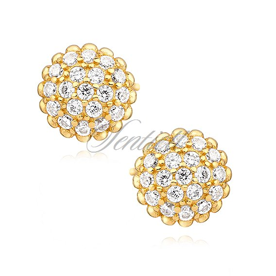 Silver 925 Gold Plated Earrings With Zirconia