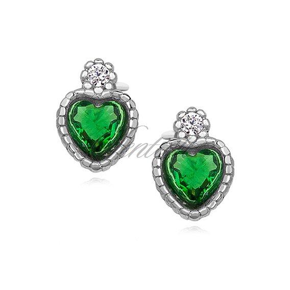 Silver 925 Elegant Heart Earrings With Emerald Zirconia