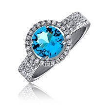 Beautiful Silver (925) ring with aquamarine zirconia