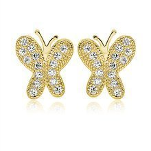 Silver (925) Earrings white zirconia- microsetting butterflies gold-plated