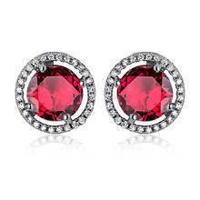 Silver (925) Earrings white zirconia- round ruby
