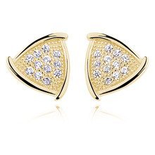Silver (925) Earrings zirconia microsetting, gold-plated
