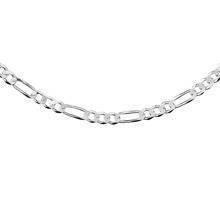 Silver (925) diamond-cut chain - figaro extra flat Ø 0120 rhodium-plated