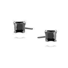 Silver (925) earrings black zirconia 4 x 4mm square