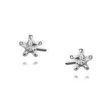 Silver (925) earrings white zirconia 4 x 4mm stars
