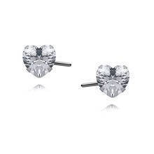 Silver (925) earrings white zirconia 5 x 5mm hearts