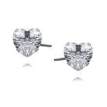 Silver (925) earrings white zirconia 6 x 6mm hearts