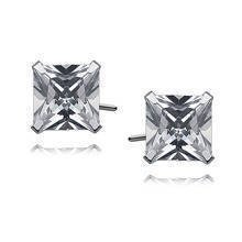 Silver (925) earrings white zirconia 7 x 7mm square