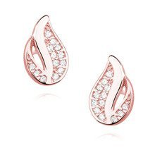 Silver (925) elegant earrings - rose gold-plated flame with zirconia