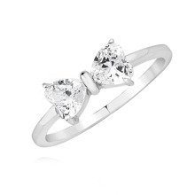 Silver (925) ring - bow with white zirconia