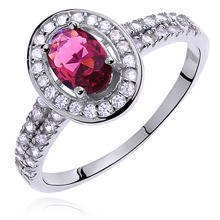 Silver (925) ring with ruby colored & white zirconia