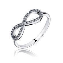 Silver (925) ring with white zirconia - infinity