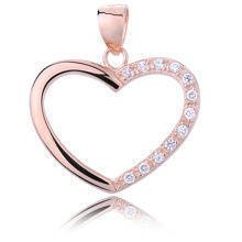 Silver (925) rose gold plated pendant white zirconia - heart