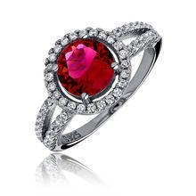 Silver elegant (925) ring with ruby colored zirconia