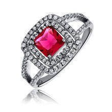 Silver fashionable (925) ring with ruby colored zirconia