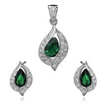 Silver, small set (925) emerald drop with white zirconia