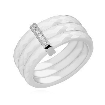 Triple ceramic white ring, with silver (925) rectangular element with zirconia
