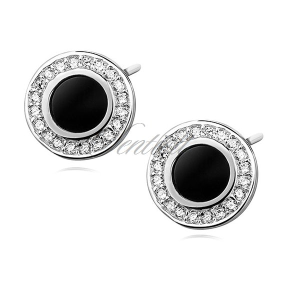 Silver 925 Elegant Round Earrings With Black Stone