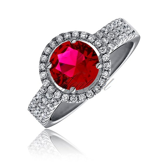 Beautiful Silver (925) ring with ruby zirconia