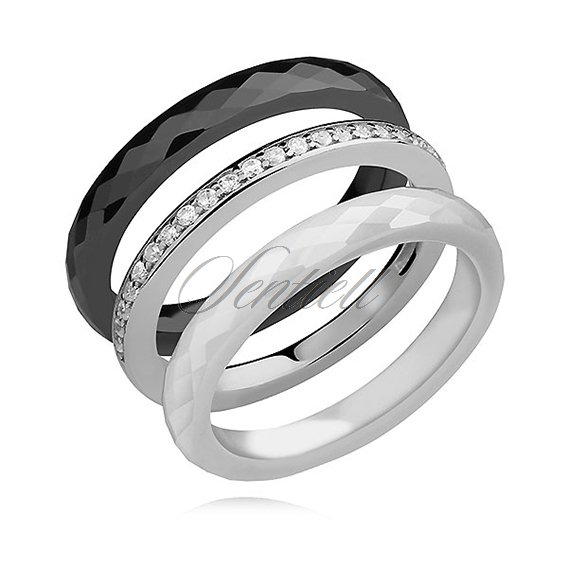 Ceramic rings black, white and silver (925) ring with white zirconia