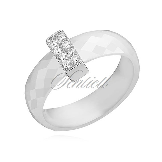 Ceramic white ring, with silver (925) rectangular element with two rows of zirconia