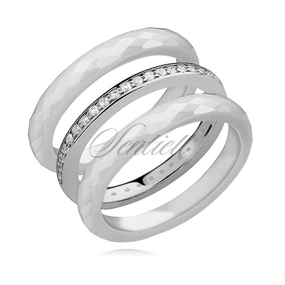 Ceramic white rings and silver (925) ring with white zirconia