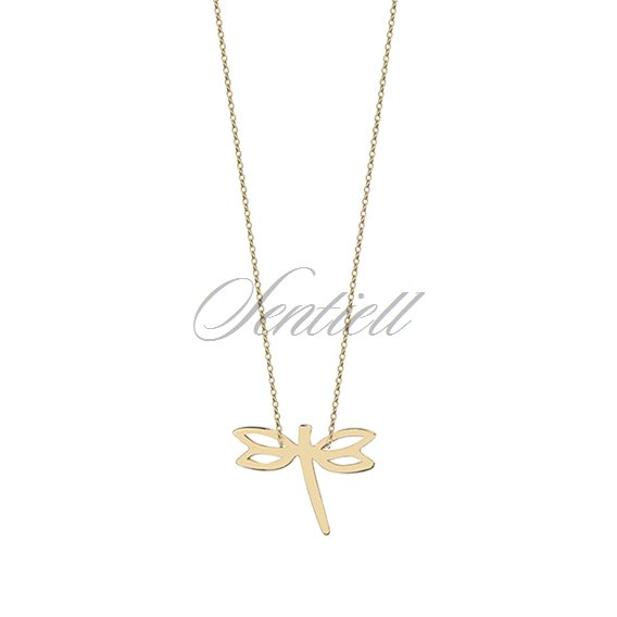 Gold necklace with dragonfly