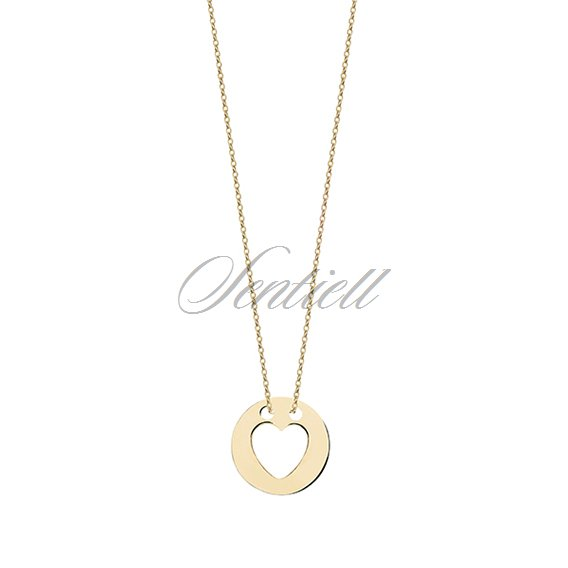 Gold necklace with heart in circle