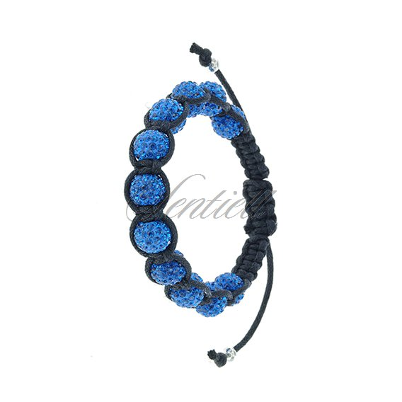 Rope bracelet (925) blue 11 disco balls