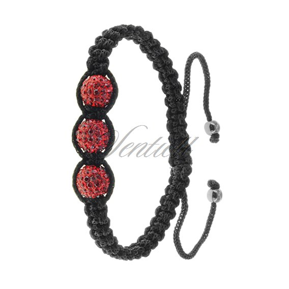 Rope bracelet (925) - red 3 disco balls