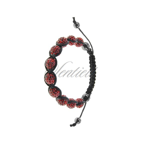 Rope bracelet (925) red and hematite