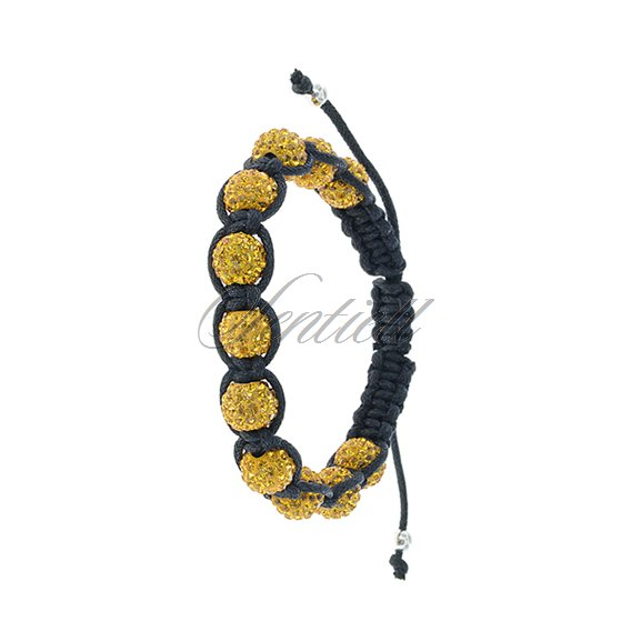 Rope bracelet (925) yellow 11 disco balls