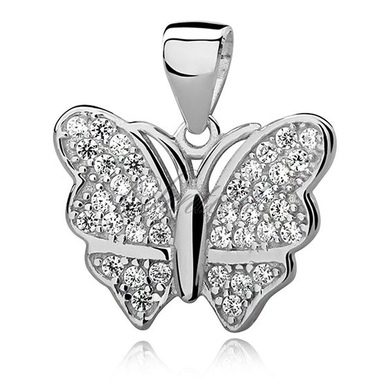 Silver (925) Butterfly pendant with zirconia