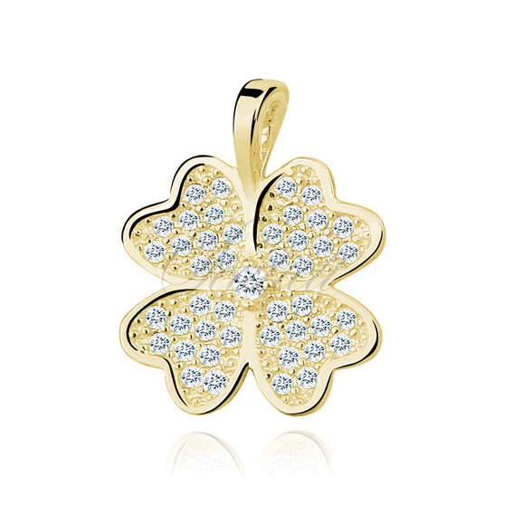 Silver (925) Clover pendant with zirconia gold-plated